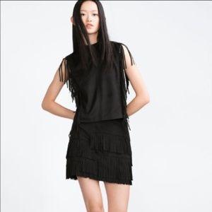 Zara Black Faux Suede Fringe Blouse XS